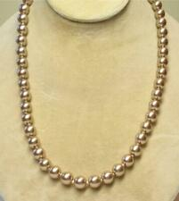"""JOAN RIVERS GOLD EP HAND KNOTTED 10mm TAUPE CZECH GLASS BEAD 30"""" NECKLACE NEW"""