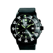 Smith & Wesson 40mm SWAT Black Face Back Glow Rubber Band 3 Hands Watch Sww-45