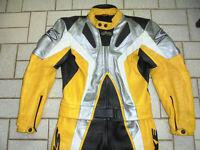 Spyke Lederkombi Zweiteiler vintage racing Motorradkombi bikerkombi gelb Gr.48