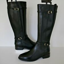"""NEW DUNE """"TOP"""" BLACK LEATHER KNEE HIGH FLEXIBLE CALF BUCKLE RIDING BOOTS UK 7"""