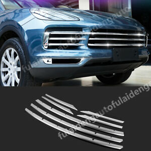 7p For Porsche Cayenne 2018-20 Stainless Steel Front Grilles Grill Decorate Trim