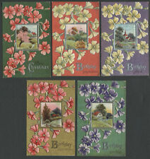 Lot of Five c.1910 E. NASH Floral Greeting Postcards