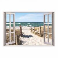 156 Wandtattoo Fenster - Weg zum Ostseestrand - Wandbild Maritim Meer Wohnzimmer