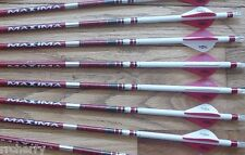 6 Carbon Express Maxima RED 250 Custom Arrows: Blazer Vanes, White Dip, & Crest