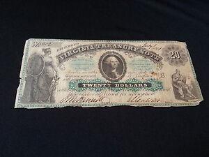 1861 VIRGINIA $20 TREASURY NOTE LOW SERIAL #212 - 5098