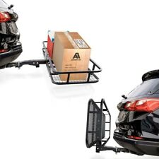 500Lb Folding Hitch Mount Cargo Carrier Mounted Basket w/ Net Luggage Rack