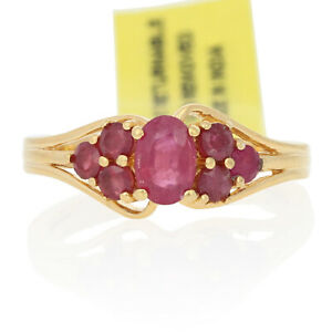 Silver Lead Glass Filled Ruby Ring - 925 Gold Plated Oval 1.20ctw Sz 6 - 6 1/4