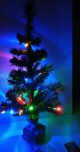 2ft Norway Pine Artificial Christmas Tree With 20 Multi Coloured Lights. 60cm