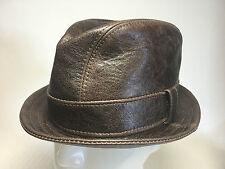 Jill Corbett Fedora Snatch hat choc brown battered leather Handmade UK to order