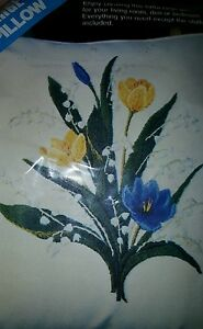 """Vtg Cross Stitch Kit XLG 17"""" X 17"""" Pillow Lilies of the Valley- Multiple Choice"""