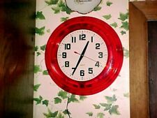 "14"" Red Standard Neon Clock Lucite frame in red working order used item"