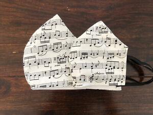 MNS S-XL Baumwolle Noten Musik Klavier Chor Nasendraht Weiß Music