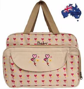 Nappy Changing Diaper Bag Waterproof Liners Mummy Shoulder Travel Bag-Pink/Beige