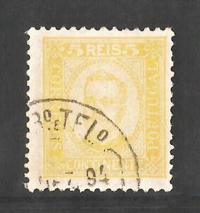 1892 Portugal D. CARLOS I - 5 Reis - PURE YELLOW - AF 68 Perf:11½ = Scott 67
