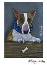 "English Bull Terrier Dog ACEO Print ""Is that mine?"" By V Kenworthy"