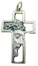"Face Of Jesus Christ Profile Pendant Silver Tone Metal Cross Gift Italy 1 3/8""L"