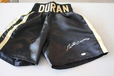 "ROBERTO DURAN SIGNED BLACK BOXING TRUNKS ""HAND OF STONE"" JSA WITNESS"
