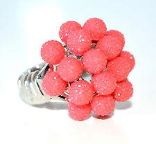 ANELLO ARGENTO rosso corallo donna fascia strass elastica a molla ring F75