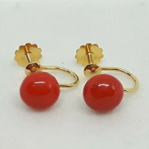 Antique / Vintage 9ct Gold Red Coral screwback earrings