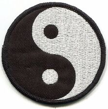 """YIN and YANG black and silver EMBROIDERED IRON-ON PATCH  3.25"""" **Free Shipping**"""