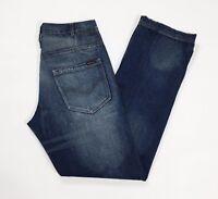 De blasio jeans W34 tg 48 uomo blu straight gamba dritta usato denim T2614