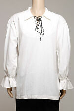 Été Casual Renaissance Pirate Médiéval chemise hommes blancs col/Ample poignets