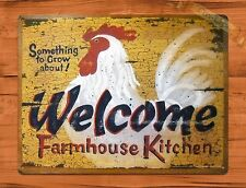 TIN SIGN Welcome Farmhouse Kitchen Eggs Rooster Chicken Decor Farm Barn Coop