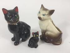 1950s Lot 3 Cat Figurine Japan Black Redware Green Glass Eye Planter Mid Century