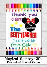 Teacher thank you gift print personalised Best Teacher a4 disney inspired design