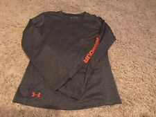 exc UNDER ARMOUR Grey Gray Orange Fitted HEAT GEAR Long Sleeve Shirt YLG Boy L