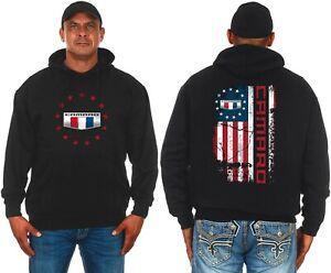 Camaro Pullover Men's Hoodie Black USA American Flag Logo CAM9P3USA9BLK