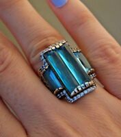 Turkish Handmade Aquamarine Sterling Silver 925 Ladies Ring Size 7 8 9