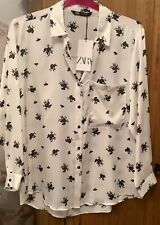 ZARA WHITE WITH BLACK SHIRT TOP SIZE XL 16 LONG SLEEVE