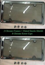 2 UNBREAKABLE Smoke License Plate Shield Covers + 2 Chrome Frames for INFINITI