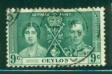 CEYLON 276 SG384 Used 1937 9c KGVI Coronation Issue Cat$5