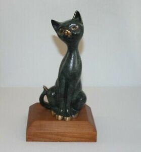 Katze Figur Bronze 3356g massiv 24cm Tierfigur Statue Skulptur animal vintage