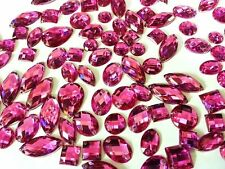80 FUSHIA Faceted Acrylic Sew on, Stick on DIAMANTE Crystal Rhinestone GEMS