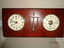 Vintage Wood Tone Scales Of Justice Clock / Barometer Bey Berk France Very Nice