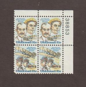 US,C91-92,MNH VF,WILBUR-ORVILLE WRIGHT,PLATE BLOCK, AIRMAIL,MINT NH