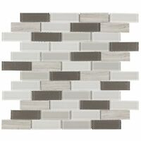 Modern Linear Gray White Metallic Beige Glossy Glass Stone Mosaic Tile MTO0316