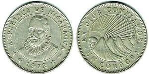 BU+ Condition 1972 Nicaragua Un Cordoba Silver Coin and bonus coin always added