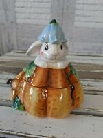 Fitz Floyd Halloween bunny rabbit blooms jar cookie container lidded pumpkin