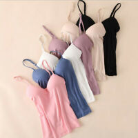 Women's Tank Tops Adjustable Strap Camisole With Built in Padded Bra Vest Cami