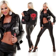 BIKER LEATHERLOOK PATCH JACKET BUCKLE STUDDED STUDS COLLAR ZIPS SIZE 14 PANTHER
