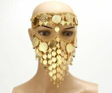 Belly Dancing Face Mask Costume Gold Coins Veil Arab Style Women Luxury Headwear