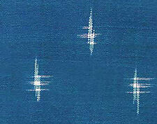 """Double Ikat Hand Loomed & Dyed Cotton Blue. One Yard 42"""" Wide Home Decor"""