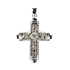 Cross Marcasite Pendant with CZ Sterling Silver 925 Christian Jewelry Gift 42 mm