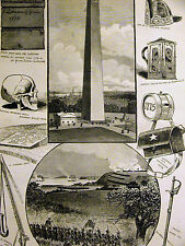 Bunker Hill Massachusetts MONUMENT WARREN'S SKULL & RELICS 1886 Print Matted