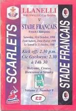 LLANELLI v STADE FRANCAIS 31 Oct 1998 RUGBY PROGRAMME HEINEKEN CUP