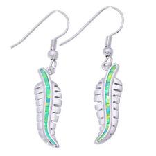 """Jewelry Dangle Earrings 1 3/4"""" Oh4377 Green Fire Opal Silver Fashion for Women"""